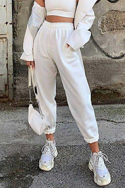 Madmext Mad Girls Beyaz Paça Lastikli Oversize Kadın Eşofman MG324