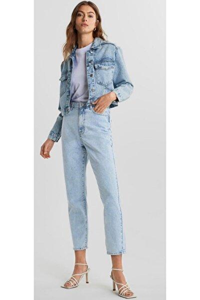 Kadın Kar Yıkama Açık Buz Mavi Mom Jeans Denim Kot Orjinal Ithal Pantolon