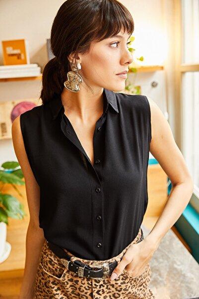 Olalook Kadın Siyah Kolsuz Viskon Gömlek GML-19000631