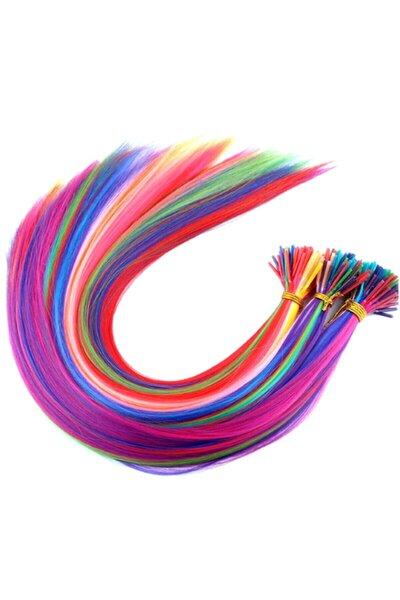Peruk Market 20 Adet Karışık Renkli Kaynaklık Saç 50 cm + Takım Aparatı Ve Boncuğu