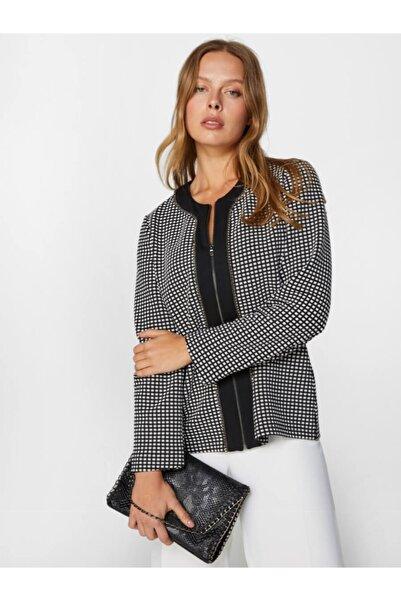 Faik Sönmez Kadın Siyah Kareli Taş İşlemeli Örme Ceket 60238 U60238