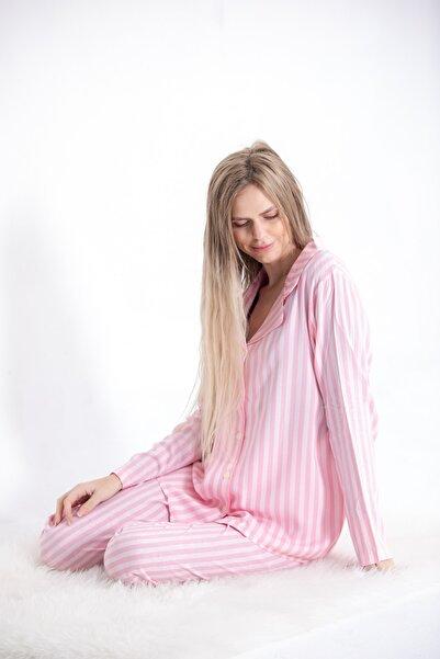 Pijama Denizi Uzun Kollu Gömlek Yaka Düğmeli Pijama Takımı Pembe Çizgili