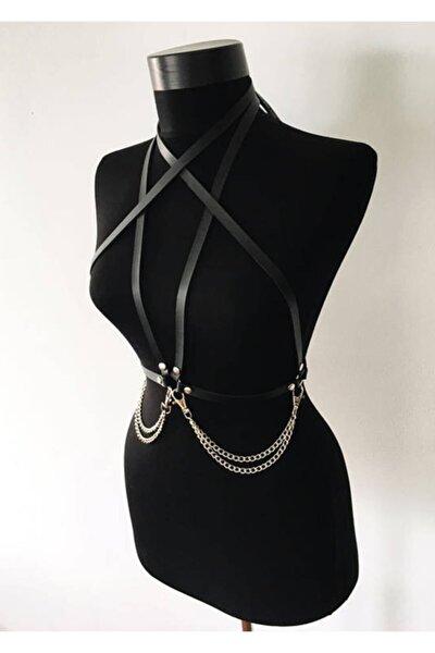 Angels Passion Kadın Siyah Harness Deri Model - Aptf52