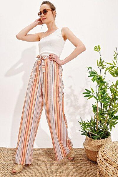Trend Alaçatı Stili Kadın Multi Bol Paça Viscon Pantolon Alc-X4354