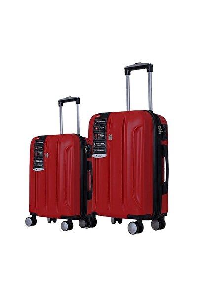 IT LUGGAGE Büyük Ve Orta Boy Polikarbon Ikili Valiz Set Kırmızı 2175