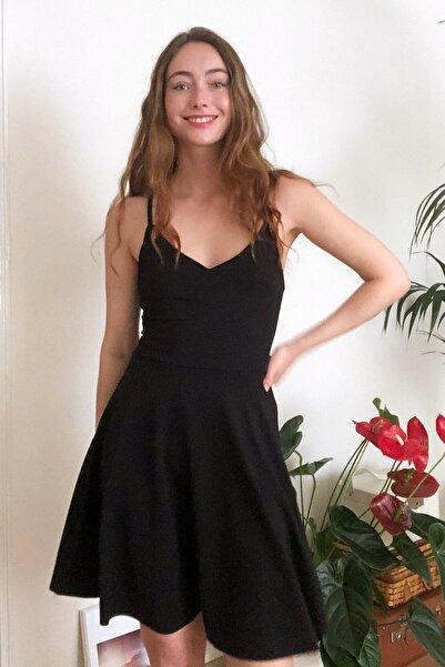 Siyah Askılı Örme Elbise TWOSS20EL1630