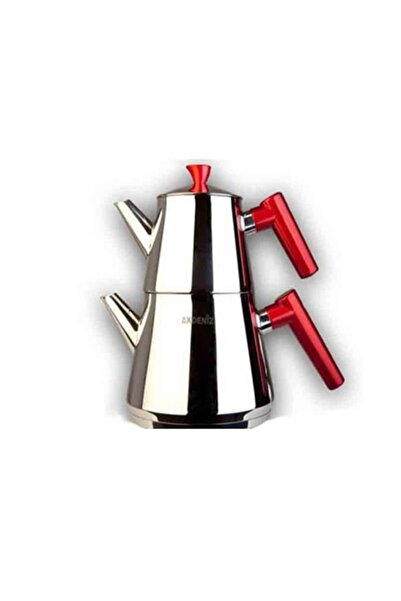 Akdeniz Piramit Küçük Boy Çelik Çaydanlık Takımı Kırmızı Benekli Saplı