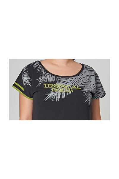 Büyük Siyah Beden Pamuklu Kadın  T-Shirt DW-2133