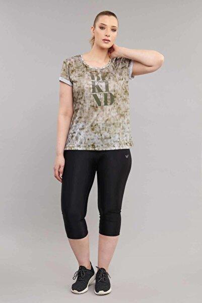 Kahverengi  Büyük Beden Kadın Antrenman T-Shirt ES-3636