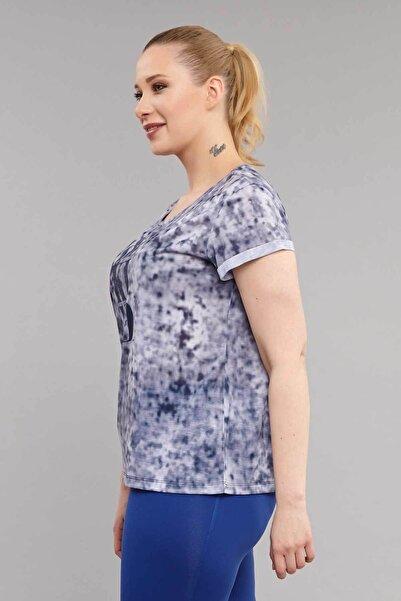 Lacivert Büyük Beden Kadın Antrenman T-Shirt ES-3636