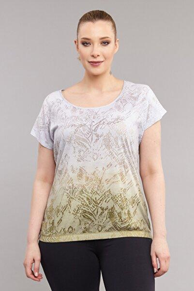 Sarı Büyük Beden Pamuk/Poly Kadın  T-Shirt ES-3586