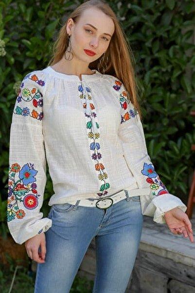 Kadın Beyaz Bohem Çiçek Nakışlı Balon Kol Bluz M10010200Bl96275