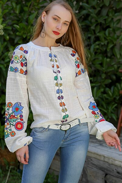 Chiccy Kadın Beyaz Bohem Çiçek Nakışlı Balon Kol Bluz M10010200Bl96275