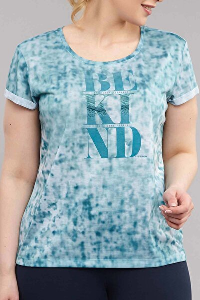 Mavi Büyük Beden Kadın Antrenman T-Shirt ES-3636
