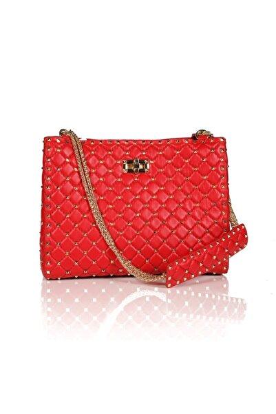 Sofia Baldi Kadın Betty Kırmızı Deri Pimli  Çanta