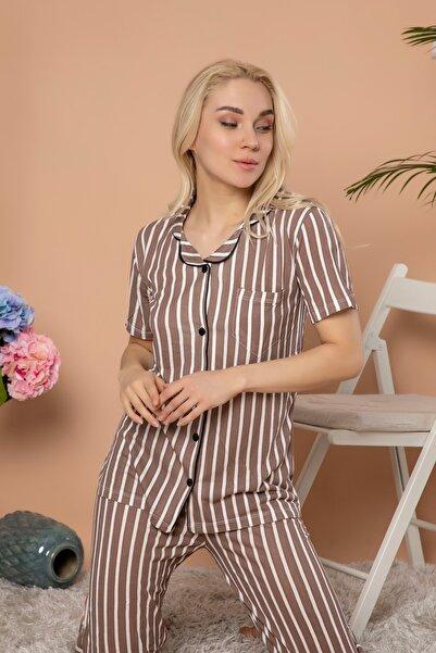 STRAWBERRY Kadın Düğmeli Kısa Kol Pijama Takım Kahverengi