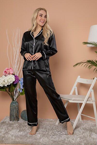 ELİTOL Kadın Düğmeli Uzun Kol Saten Pijama Takım Siyah