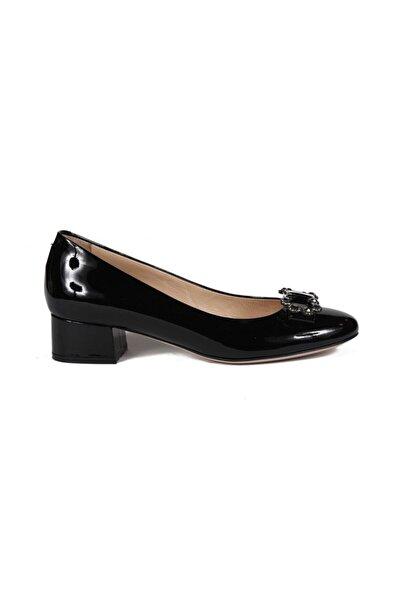 Sofia Baldi Kadın Sean Siyah Rugan Taşlı Kalın Topuklu Ayakkabı