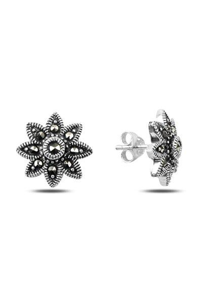 Silverella Gümüş 925 Ayar Markazit Taşlı Çiçek Küpe