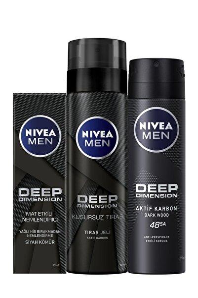 Nivea Men Deep Matlaştırıcı Krem + Men Deep Tıraş Jeli 200 Ml + Men Deep Dimension Sprey Deodorant