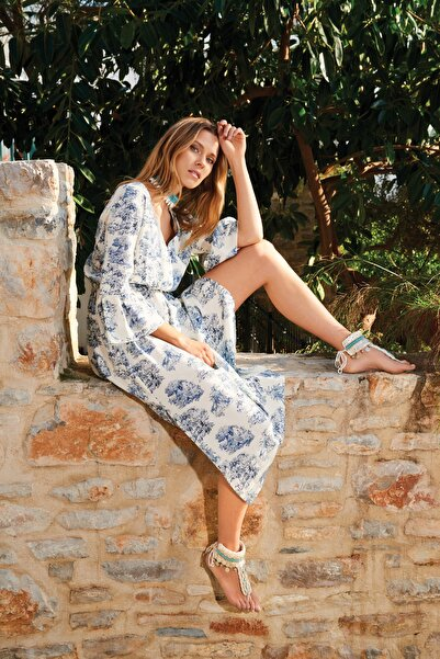 Kadın Mavi Uzun Viskon Elbise 20YG001318