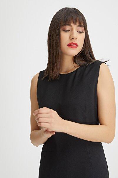 Kadın Siyah Kolsuz Klasik Jile Elbise 20YG001306