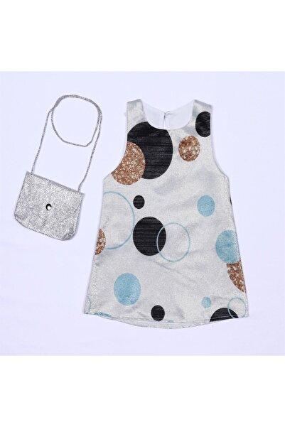 Bebe Çantalı Daire Desenli Jile Elbise