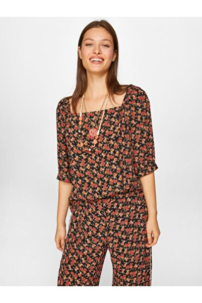 Faik Sönmez Kadın Siyah Desenli Kare Yaka Bluz 60165 U60165