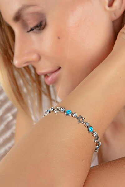 Modex Gümüş Rengi Yıldız Figürlü Bileklik