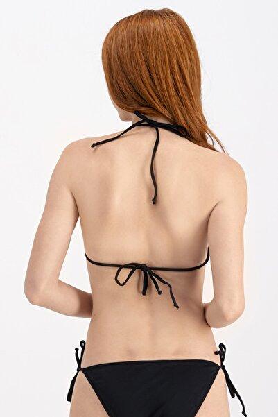 Siyah Ipli Üçgen Bikini Üstü