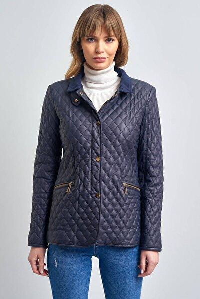 Pierre Cardin Kadın Lacivert Yakalı Hakiki Deri Ceket