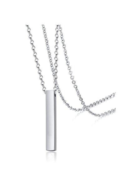 Baykuş Unisex 70 cm Uzun Bar Dikdörtgen Çelik Kolye