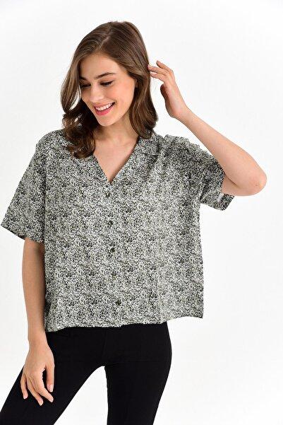Bayan Beyaz Püskürtme Desen Gömlek 0ybg16-2355