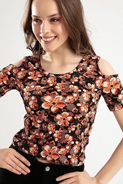 Y-London Kadın Çiçek Desenli Omuz Dekolteli Çiçekli Bluz Y20S159-5685-4