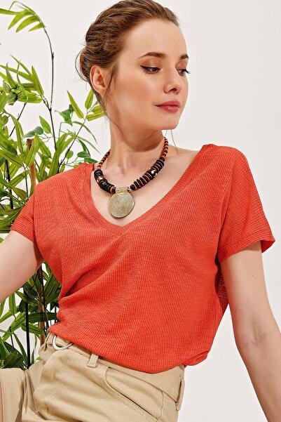 Kadın Mercan Ön Arka V Yaka Piliseli Bluz ALC-019-029