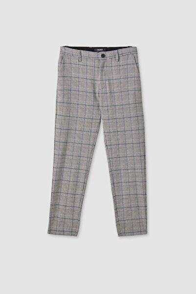 Pull & Bear Erkek Açık Gri Gri Kareli Özel Dikim Pantolon 05670903