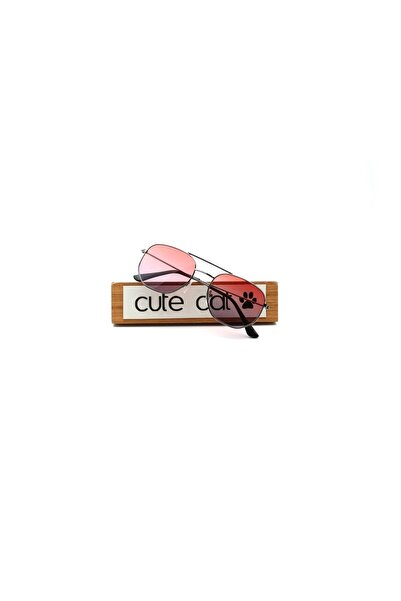 CUTE CAT Hidra Red Purple Degrade Small Hexagon Unisex Güneş Gözlüğü