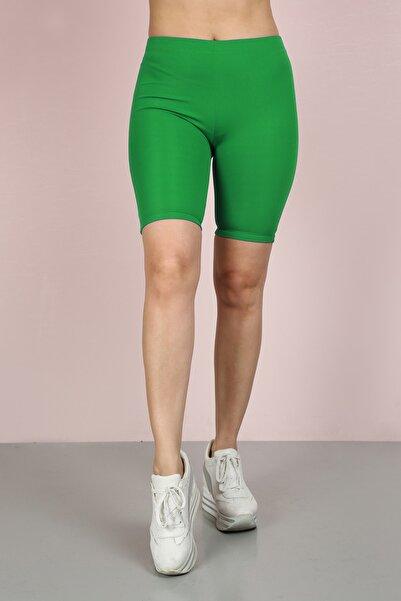 Kadın Yeşil Kısa Spor Tayt Diz Üstü