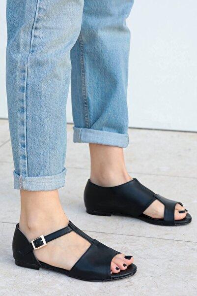 Mio Gusto Maria Siyah Damalı Sandalet