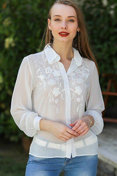 Chiccy Kadın Vintage Çiçek Nakışlı Şifon Gömlek M10010400Gm99534