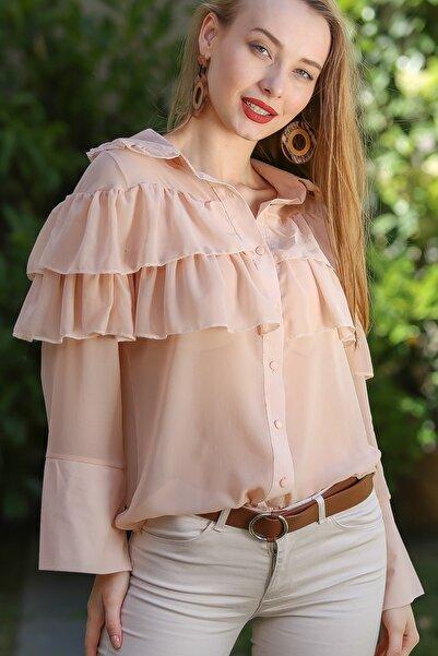 Chiccy Kadın Barok Fırfır Detaylı Dev Manşetli Şifon Gömlek M10010400Gm99531