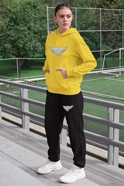 Angemiel Wear Rengarenk Motifli Baykuş Kadın Eşofman Takımı Sarı Kapşonlu Sweatshirt Siyah Eşofman Altı