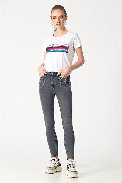 Robin Kadın D83356 Pantalon Açık Gri