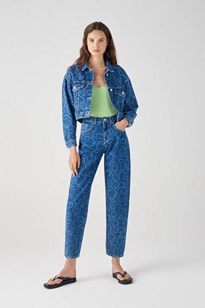 Pull & Bear Kadın Mavi Oversize Mavi Smiley Desenli Denim Ceket 05713352