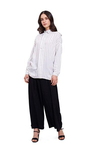 Mizalle Mızalle Çizgili Yakalı Gömlek Bluz (ekru)