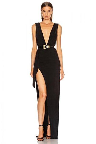 Drapeli Derin Yırtmaçlı Maxi Elbise