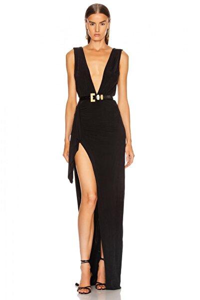 By Umut Design Drapeli Derin Yırtmaçlı Maxi Elbise