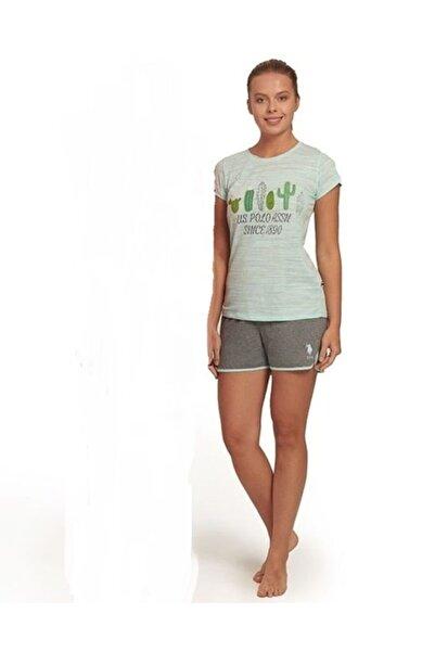 U.S. Polo Assn. Kadın Kısa Kol Şort Takım Mint  16227