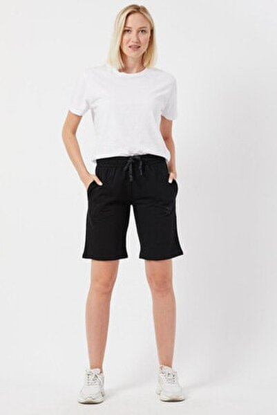 Kadın Basic Uzun Örme Şort Bermuda