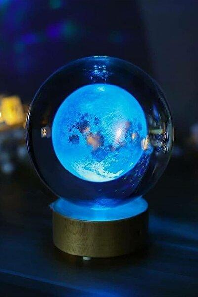 ORİJİNALDÜKKAN Kristal Cam Küre Renk Değiştiren Led Işıklı Ay Lamba